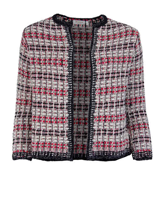 RICH&ROYAL 3/4Arm Strickjacke Rundhals Webstruktur Muster rot