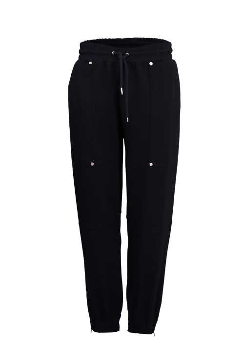 RICH&ROYAL Damen Jogging-Pants Tunnelzug Nieten Zipper Stretch schwarz
