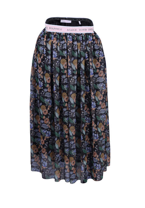 RICH&ROYAL Damen Midi Rock Stretch-Bund multicolor Blumen Design blau