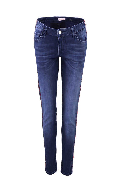RICH&ROYAL Jeans Zierstreifen 5-Pocket Stretch dunkelblau