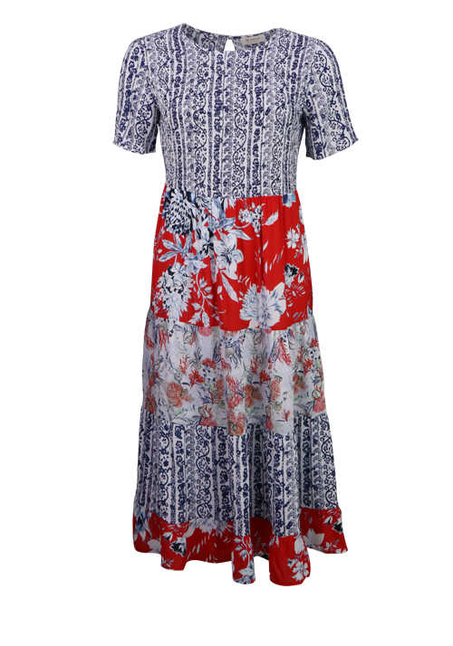 RICH&ROYAL Kurzarm Kleid Rundhals Muster Mix Blumen Design rot