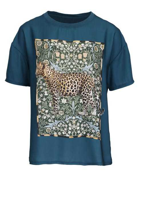 RICH&ROYAL Kurzarm T-Shirt Rundhals Animal Print Leo Strass petrol