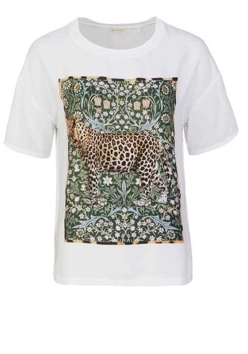 RICH&ROYAL Kurzarm T-Shirt Rundhals Animal Print Leo Strass weiß