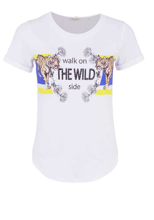 RICH&ROYAL Kurzarm T-Shirt Rundhals Statement Print Strass Tiger ecru