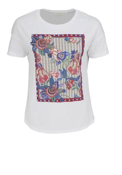 RICH&ROYAL Kurzarm T-Shirt Rundhals Statement-Print Strass weiß