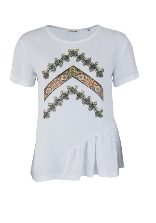 RICH & ROYAL Kurzarm T-Shirt Rundhals Statement-Print weiß