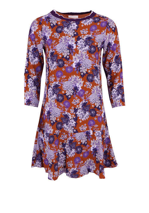 RICH&ROYAL Langarm Kleid Rundhals Florales-Muster zimt/rost/lila/ecru