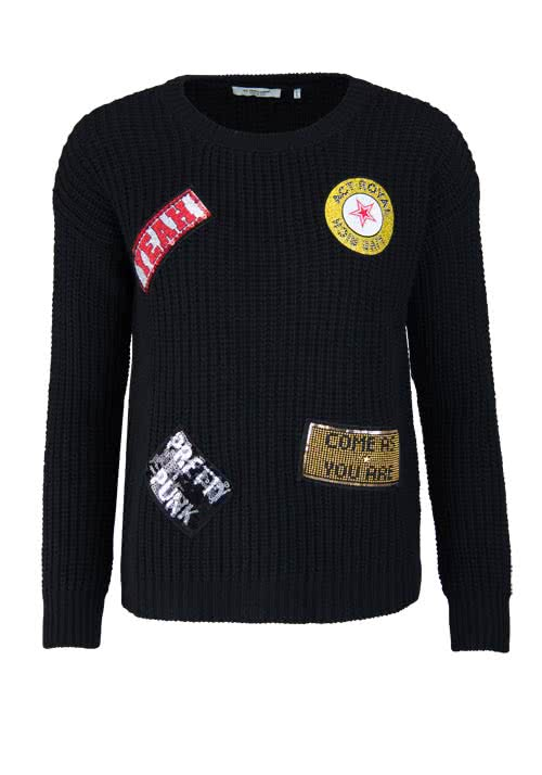 RICH&ROYAL Langarm Pullover Rundhals Patches Strass Pailletten schwarz