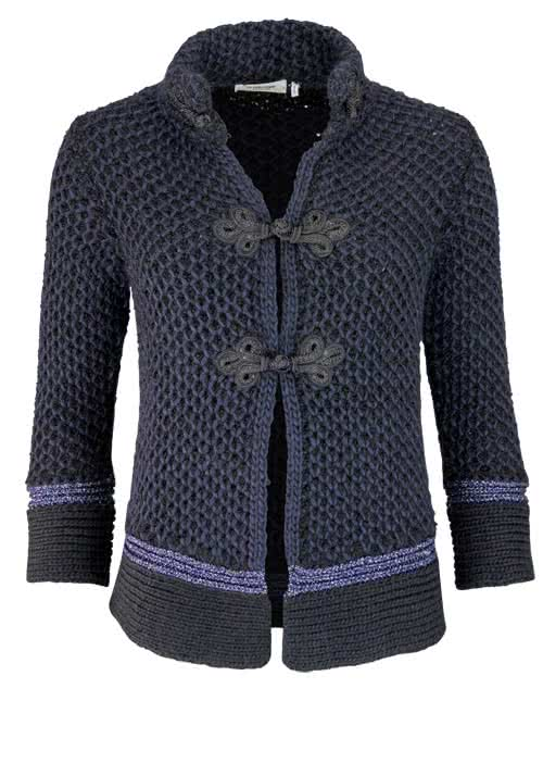 RICH&ROYAL Langarm Strickjacke Stehkragen Zierknöpfe midnight