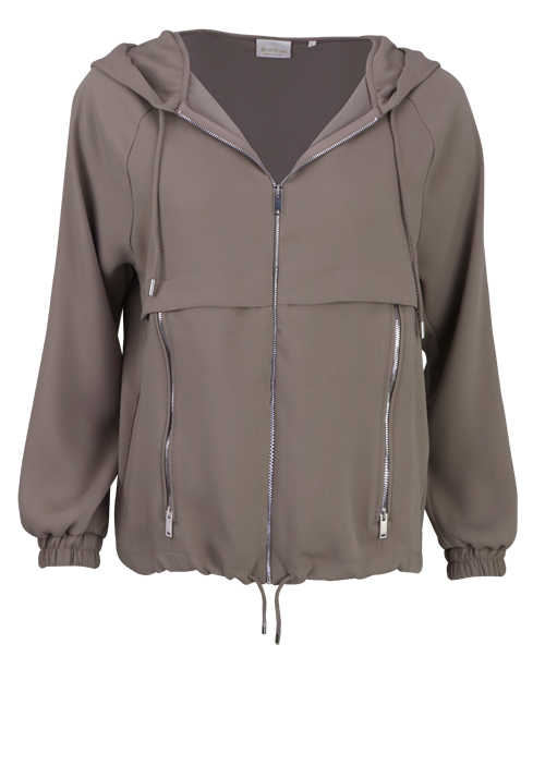 RICH&ROYAL Langarm Sweatjacke Kapuze Zipper Seitentaschen taupe