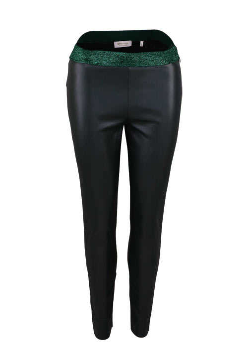 RICH&ROYAL Leggings Leder-Optik Glitzergummibund dunkelgrün