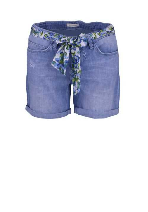 RICH&ROYAL Shorts Umschlag Used 5 Pocket Bindedetail hellblau