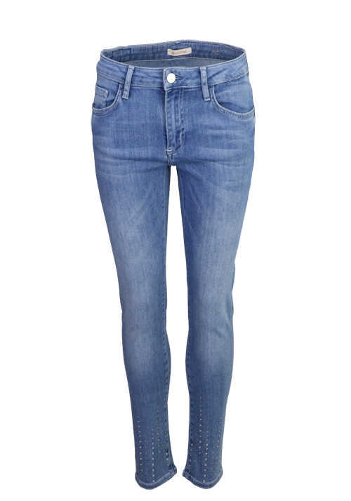 RICH&ROYAL Skinny Jeans Used 5 Pocket Strass mittelblau