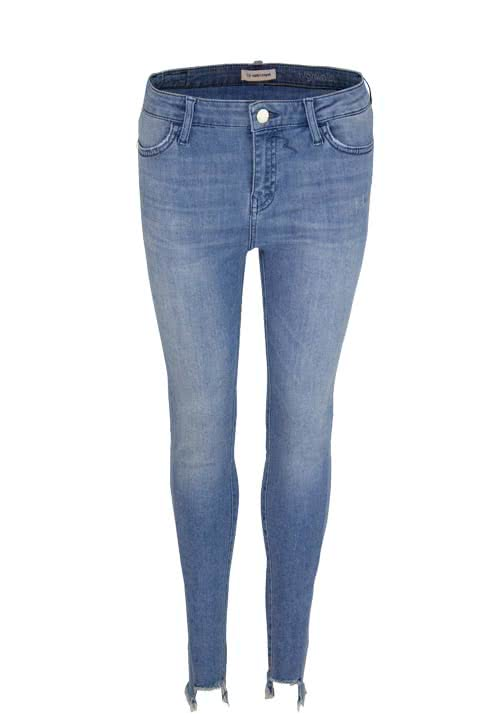 RICH&ROYAL Skinny Jeans Used ausgefranster Saum mittelblau