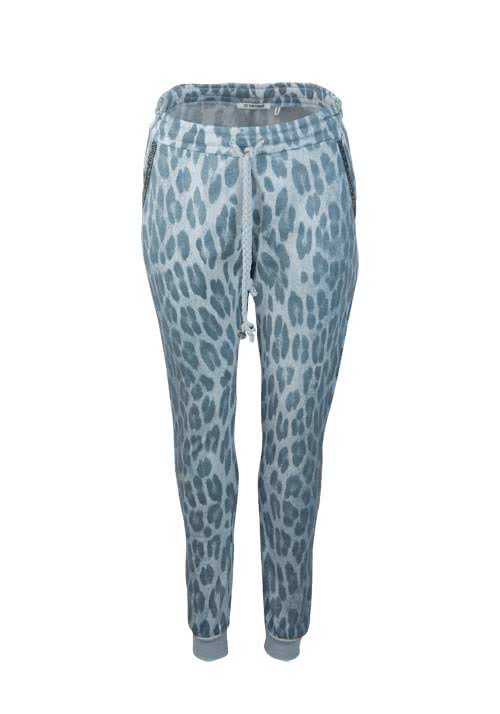 RICH&ROYAL Sweat-Pant Strassbesatz Animal-Print jadegrün/hellgrau