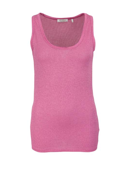 RICH&ROYAL ärmelloses Top Rundhals Glitzer Stretch rosa