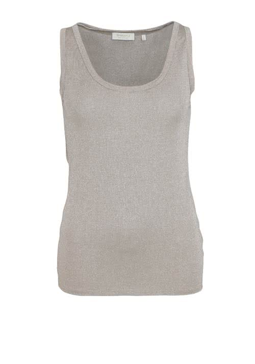 RICH&ROYAL ärmelloses Top Rundhals Glitzer Stretch taupe