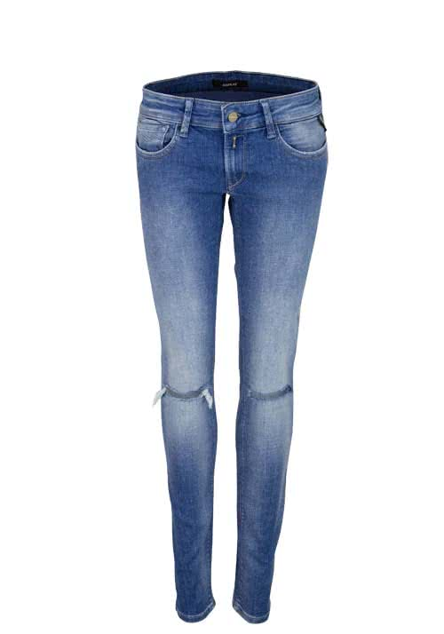 REPLAY Skinny Jeans LUZ used destroy Stretch hellblau