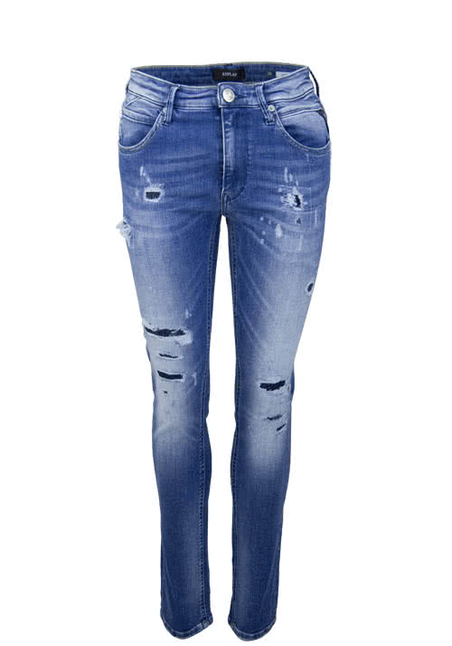 REPLAY Straight Jeans JACKSY Used Destroy Ziernähte mittelblau