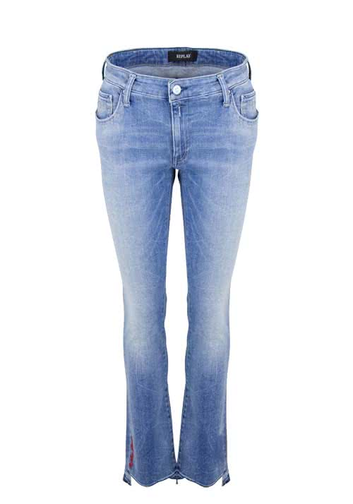 REPLAY Slim Fit Jeans Used Fransen Bootcut mittelblau