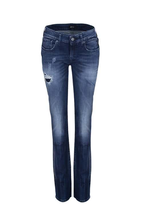 REPLAY Straight Jeans destroy used mittelblau