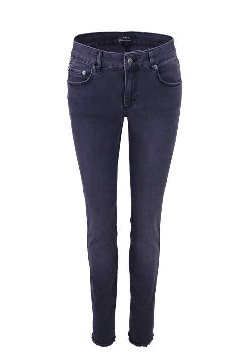 SET Damen Jeans Button-Zipp-Verschluss 5-Pocket anthrazit