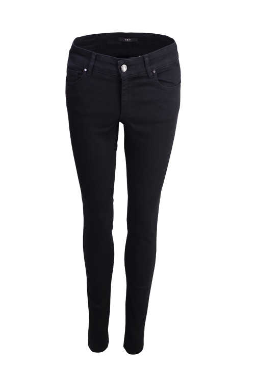 SET Damen Skinny Jeans 5 Pocket Stretch offener Saum schwarz