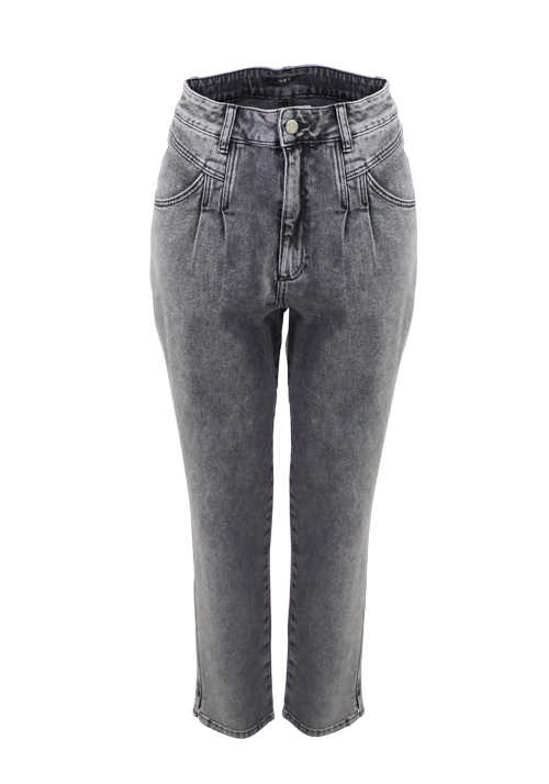 SET Jeans 5 Pocket Bio Baumwolle stone washed mittelgrau