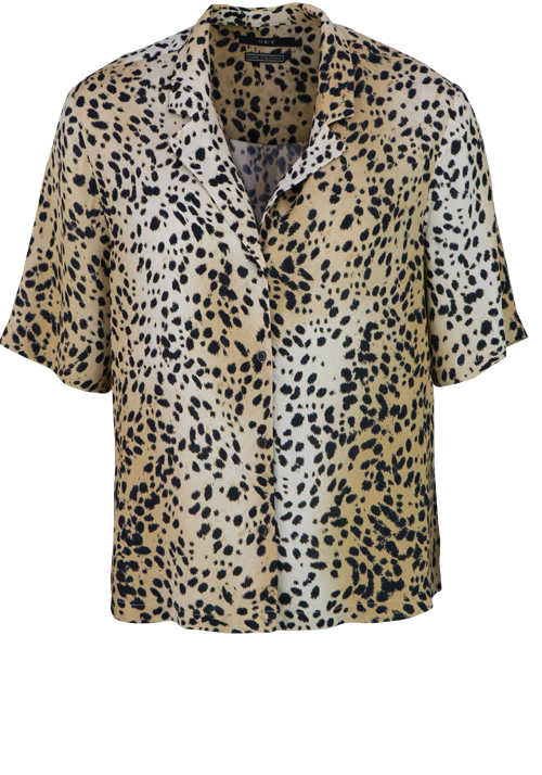 SET Kurzarm Bluse Hemdkragen Loose Fit geknöpft Animal Print braun