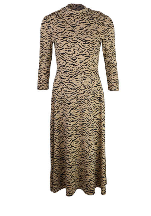 SET Langarm Jersey-Kleid lang Stehkragen Stretch Animal-Print beige