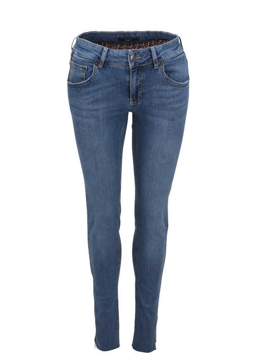 SET Skinny Jeans Button-Zipp-Verschluss 5-Pocket mittelblau