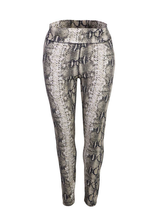 SET Skinny Leggings Gummibund Reptil-Print anthrazit