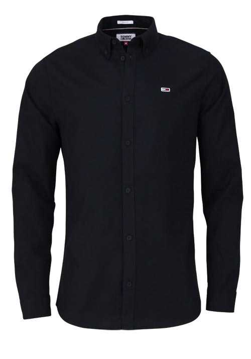 TOMMY JEANS Slim Fit Hemd Langarm Button Down Kragen schwarz