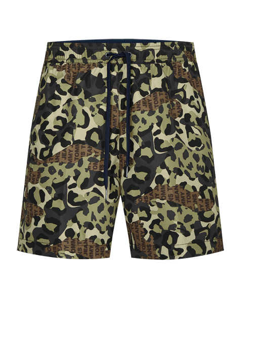 TOMMY HILFIGER Badeshorts Camouflage Muster grün