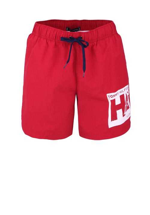 TOMMY HILFIGER Badeshorts MEDIUM DRAWSTRING Statement-Print rot