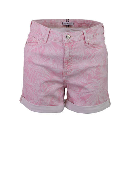 TOMMY HILFIGER Jeansshorts ROME 5 Pocket Beinumschlag Muster rosa
