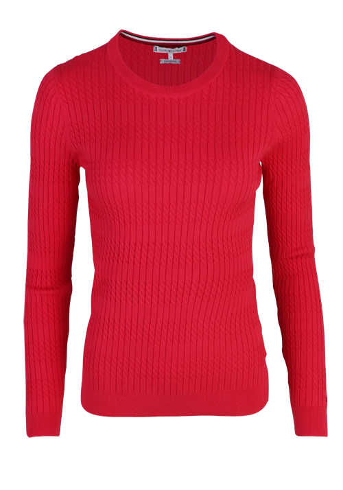 TOMMY HILFIGER Langarm Pullover Rundhals Stretch Zopf-Muster rot