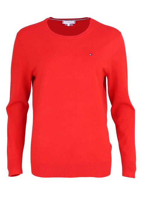 TOMMY HILFIGER Langarm Pullover TALY Rundhals Feinstrick hellrot
