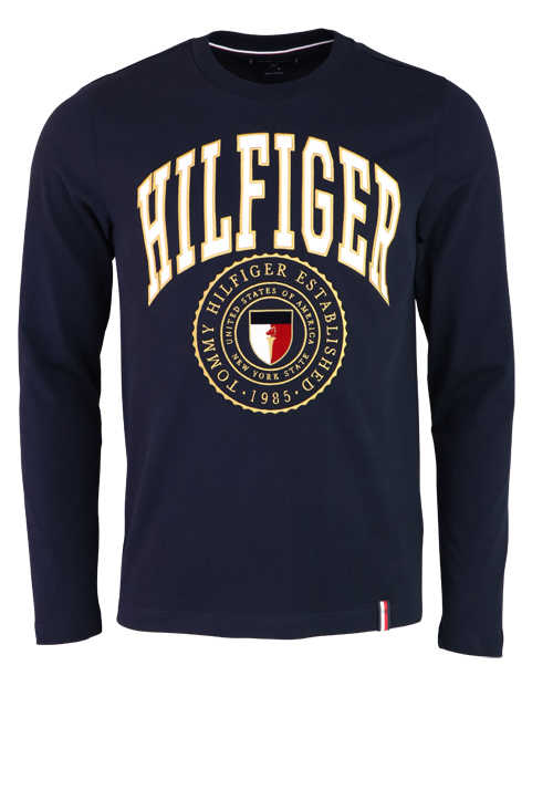 TOMMY HILFIGER Langarm Shirt Rundhals Applikation navy