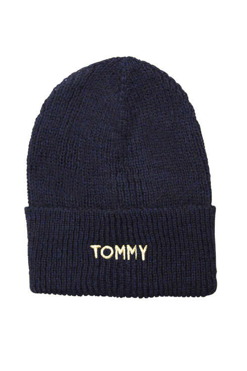 TOMMY HILFIGER Mütze EFFORTLESS Strick Logo-Applikation nachtblau
