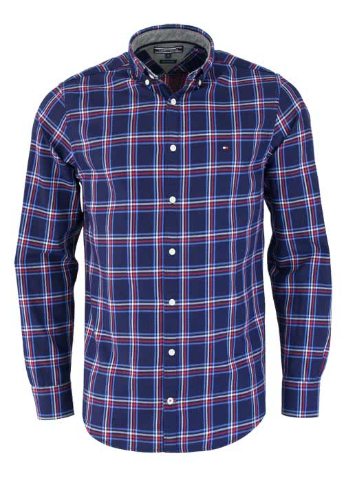 TOMMY HILFIGER New York Fit Hemd GLOBAL Langarm Karo blau/rot/weiß
