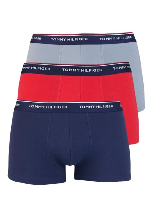 TOMMY HILFIGER Pants 3er Pack Stretch rot/grau/dunkelblau
