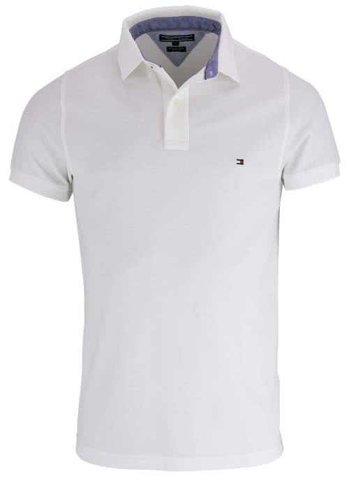 TOMMY HILFIGER Performance Poloshirt Halbarm Slim Fit weiß