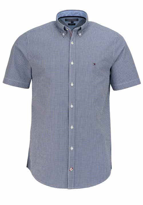 TOMMY HILFIGER Regular Fit Hemd Kurzarm Button-Down-Kragen dunkelblau