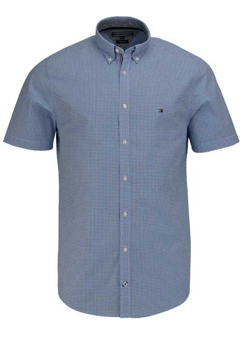 TOMMY HILFIGER Regular Fit Hemd Kurzarm Button-Down-Kragen hellblau