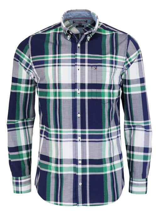TOMMY HILFIGER Regular Fit Hemd Langarm Button Down Kragen Karo blau