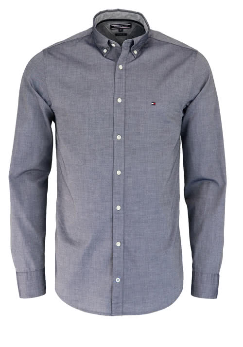 TOMMY HILFIGER Regular Fit Hemd Langarm Button Down Kragen dunkelblau