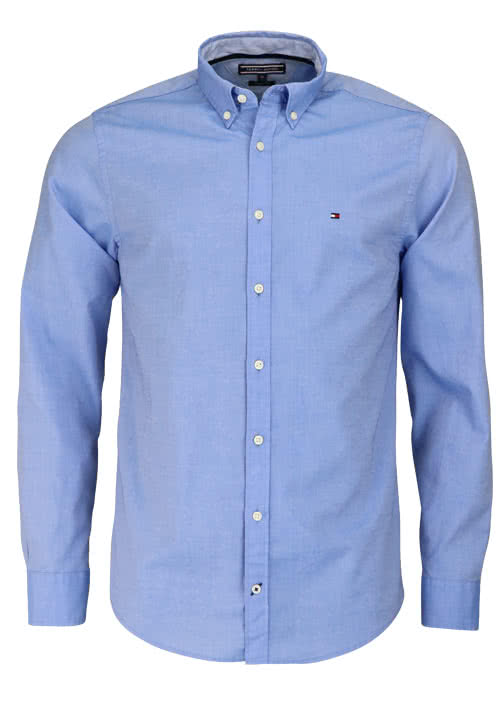 TOMMY HILFIGER Regular Fit Hemd Langarm Button Down Kragen mittelblau