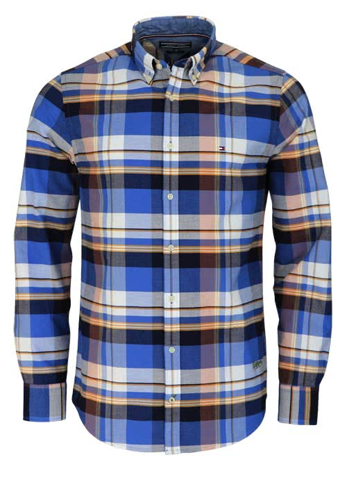 TOMMY HILFIGER Regular Fit Hemd Langarm Karo blau/weiß/orange