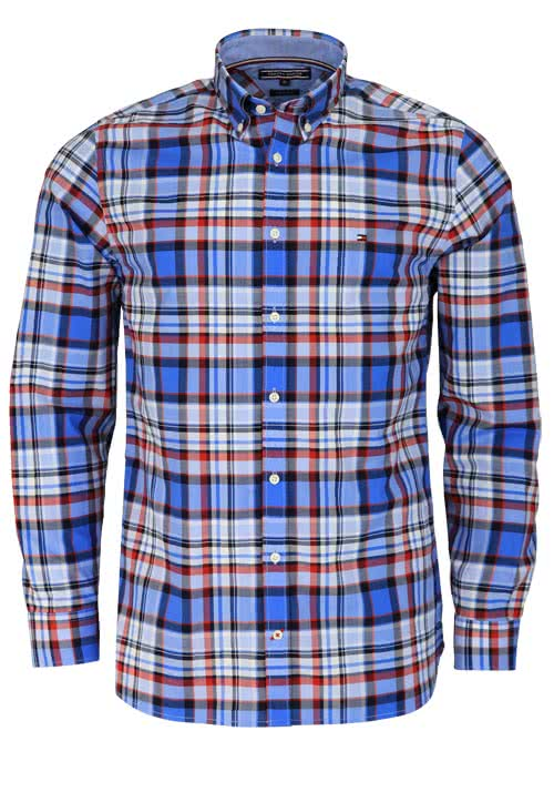 TOMMY HILFIGER Regular Fit Hemd Langarm Regular Fit Karo blau/rot